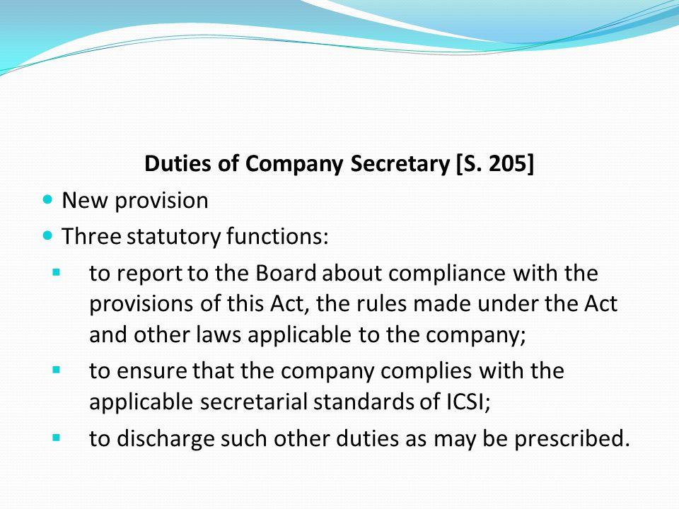 Duties of Company Secretary [S. 205]